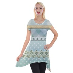 Circle Polka Plaid Triangle Gold Blue Flower Floral Star Short Sleeve Side Drop Tunic by Mariart