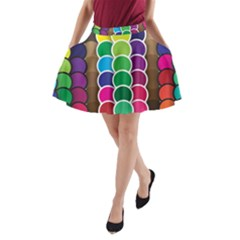 Circle Round Yellow Green Blue Purple Brown Orange Pink A Line Pocket Skirt by Mariart