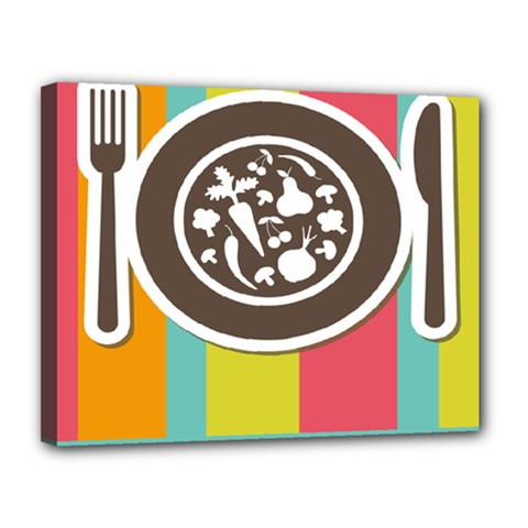 Dinerplate Tablemaner Food Fok Knife Canvas 14  X 11  by Mariart