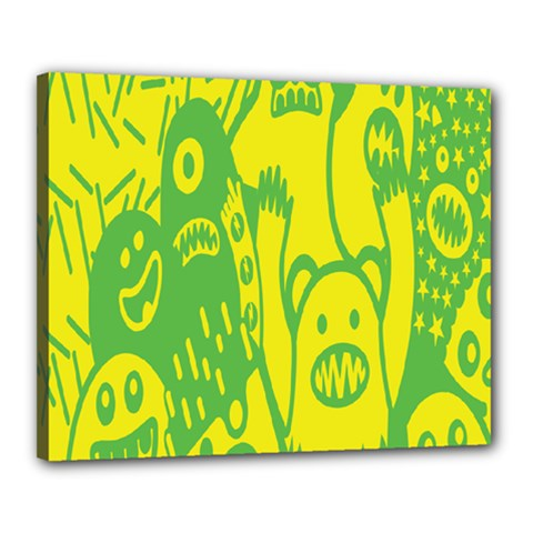 Easter Monster Sinister Happy Green Yellow Magic Rock Canvas 20  X 16  by Mariart