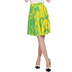 Easter Monster Sinister Happy Green Yellow Magic Rock A Line Skirt by Mariart