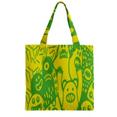 Easter Monster Sinister Happy Green Yellow Magic Rock Zipper Grocery Tote Bag by Mariart