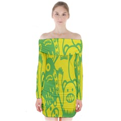 Easter Monster Sinister Happy Green Yellow Magic Rock Long Sleeve Off Shoulder Dress by Mariart