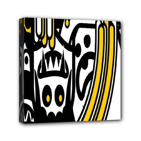 Easter Monster Sinister Happy Magic Rock Mask Face Polka Yellow Mini Canvas 6  X 6  by Mariart