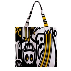 Easter Monster Sinister Happy Magic Rock Mask Face Polka Yellow Zipper Grocery Tote Bag by Mariart