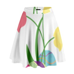 Eggs Three Tulips Flower Floral Rainbow High Waist Skirt by Mariart