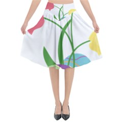 Eggs Three Tulips Flower Floral Rainbow Flared Midi Skirt