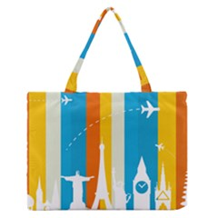 Eiffel Tower Monument Statue Of Liberty Medium Zipper Tote Bag by Mariart