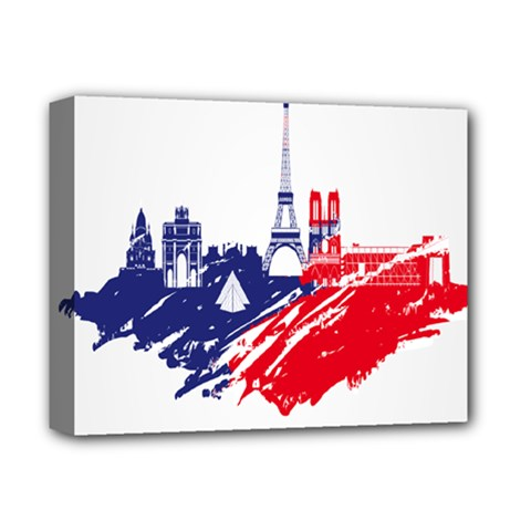 Eiffel Tower Monument Statue Of Liberty France England Red Blue Deluxe Canvas 14  X 11  by Mariart