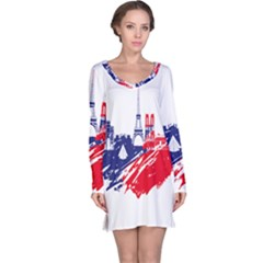 Eiffel Tower Monument Statue Of Liberty France England Red Blue Long Sleeve Nightdress by Mariart