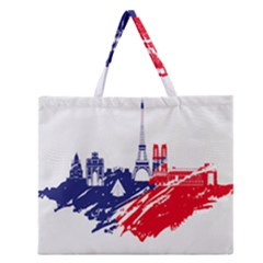 Eiffel Tower Monument Statue Of Liberty France England Red Blue Zipper Large Tote Bag by Mariart
