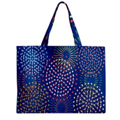 Fireworks Party Blue Fire Happy Zipper Mini Tote Bag by Mariart