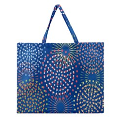 Fireworks Party Blue Fire Happy Zipper Large Tote Bag by Mariart