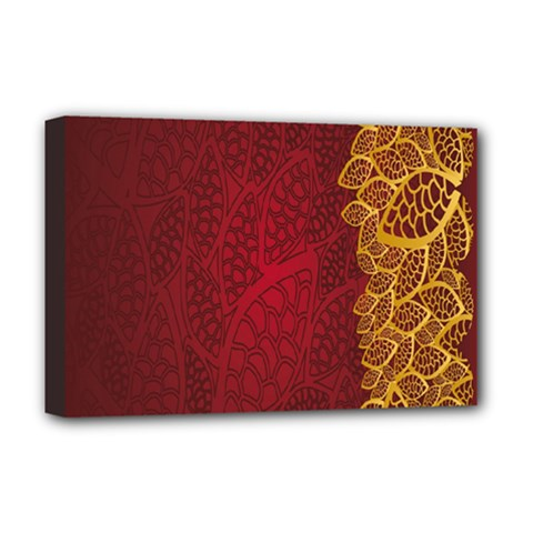 Floral Flower Golden Red Leaf Deluxe Canvas 18  X 12   by Mariart