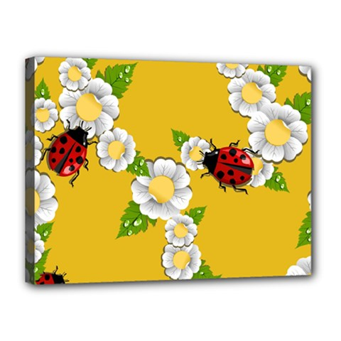 Flower Floral Sunflower Butterfly Red Yellow White Green Leaf Canvas 16  X 12  by Mariart