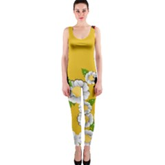 Flower Floral Sunflower Butterfly Red Yellow White Green Leaf Onepiece Catsuit by Mariart