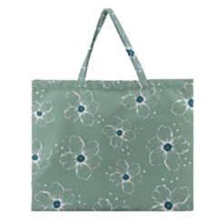 Flower Floral Sakura Sunflower Rose Blue Zipper Large Tote Bag by Mariart