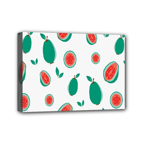 Fruit Green Red Guavas Leaf Mini Canvas 7  X 5  by Mariart