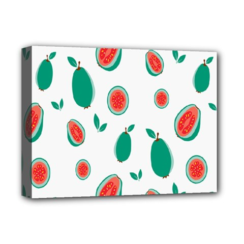 Fruit Green Red Guavas Leaf Deluxe Canvas 16  X 12   by Mariart