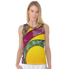 Flower Floral Leaf Star Sunflower Green Red Yellow Brown Sexxy Women s Basketball Tank Top by Mariart