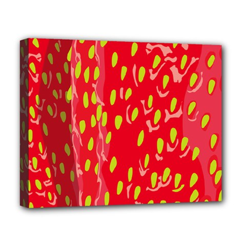 Fruit Seed Strawberries Red Yellow Frees Deluxe Canvas 20  X 16   by Mariart