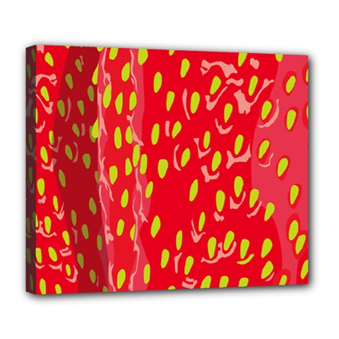 Fruit Seed Strawberries Red Yellow Frees Deluxe Canvas 24  X 20   by Mariart