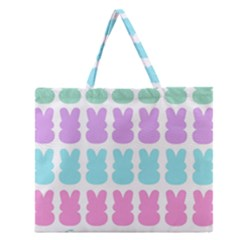 Happy Easter Rabbit Color Green Purple Blue Pink Zipper Large Tote Bag by Mariart