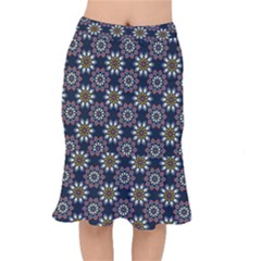 Floral Flower Star Blue Mermaid Skirt