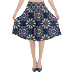 Floral Flower Star Blue Flared Midi Skirt by Mariart