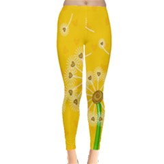Leaf Flower Floral Sakura Love Heart Yellow Orange White Green Leggings  by Mariart