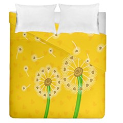 Leaf Flower Floral Sakura Love Heart Yellow Orange White Green Duvet Cover Double Side (queen Size) by Mariart