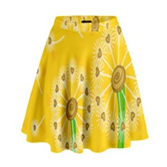 Leaf Flower Floral Sakura Love Heart Yellow Orange White Green High Waist Skirt by Mariart
