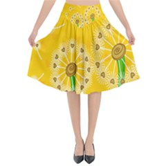 Leaf Flower Floral Sakura Love Heart Yellow Orange White Green Flared Midi Skirt