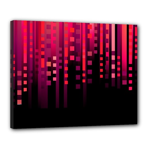 Line Vertical Plaid Light Black Red Purple Pink Sexy Canvas 20  X 16  by Mariart