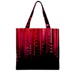 Line Vertical Plaid Light Black Red Purple Pink Sexy Zipper Grocery Tote Bag by Mariart