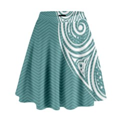 Line Wave Chevron Star Blue Love Heart Sea Beach High Waist Skirt by Mariart