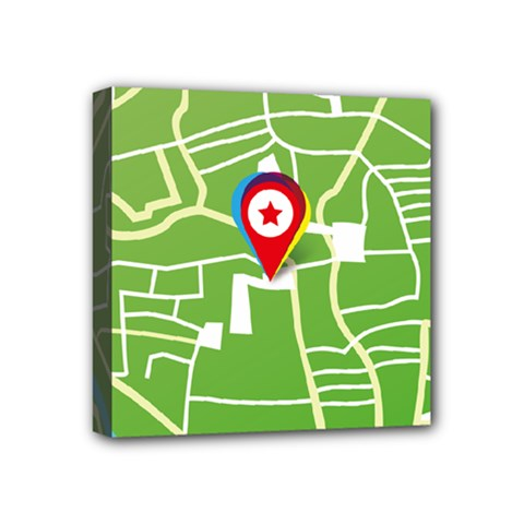 Map Street Star Location Mini Canvas 4  X 4  by Mariart