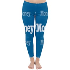 Money White Blue Color Classic Winter Leggings by Mariart