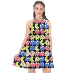 Pacman Seamless Generated Monster Eat Hungry Eye Mask Face Color Rainbow Halter Neckline Chiffon Dress  by Mariart