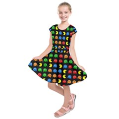 Pacman Seamless Generated Monster Eat Hungry Eye Mask Face Rainbow Color Kids  Short Sleeve Dress by Mariart