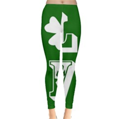 Parks And Tally Love Printable Green Leggings  by Mariart