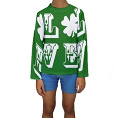 Parks And Tally Love Printable Green Kids  Long Sleeve Swimwear by Mariart