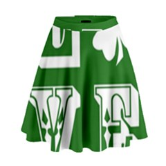 Parks And Tally Love Printable Green High Waist Skirt by Mariart