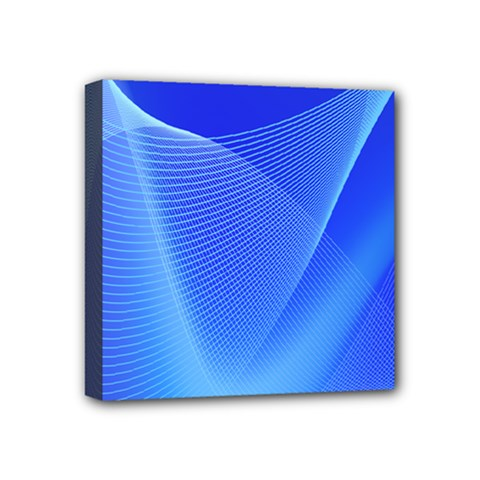 Line Net Light Blue White Chevron Wave Waves Mini Canvas 4  X 4  by Mariart