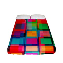 Plaid Line Color Rainbow Red Orange Blue Chevron Fitted Sheet (full/ Double Size)