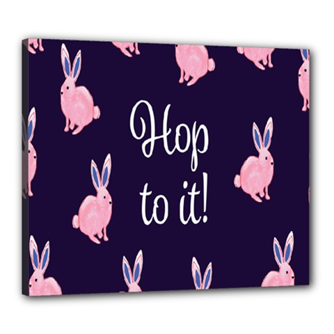 Rabbit Bunny Pink Purple Easter Animals Canvas 24  X 20  by Mariart