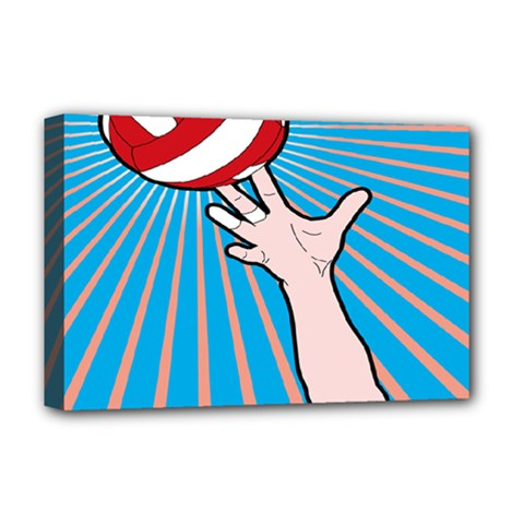Volly Ball Sport Game Player Deluxe Canvas 18  X 12   by Mariart