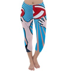 Volly Ball Sport Game Player Capri Winter Leggings  by Mariart