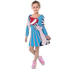Volly Ball Sport Game Player Kids  Long Sleeve Velvet Dress by Mariart