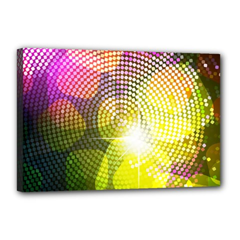 Plaid Star Light Color Rainbow Yellow Purple Pink Gold Blue Canvas 18  X 12  by Mariart